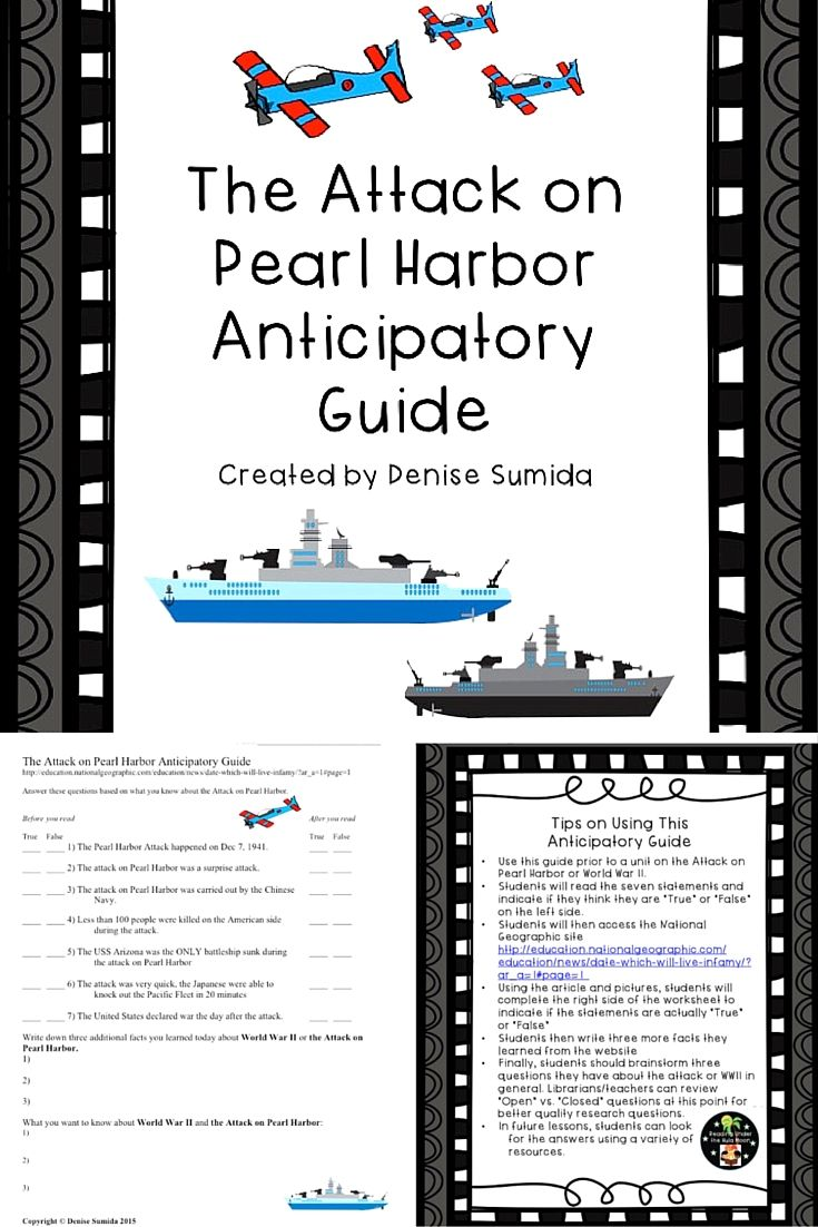 005 The Attack on Pearl Harbor Anticipatory Guide Student