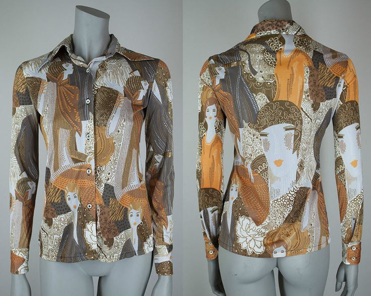 Vintage 1970s 70s Deco Flapper Print Polyester Button Up Disco Shirt XS S #Tucci