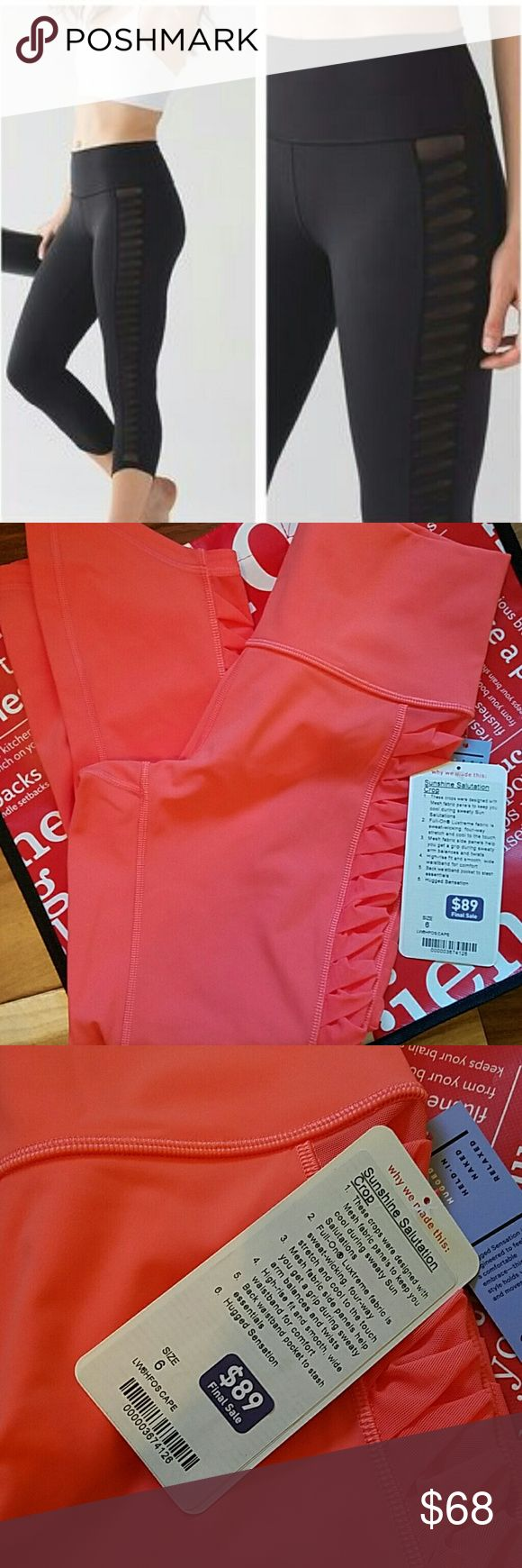 NWT LULULEMON SUNSHINE SALUTATION CROP -- Size 6 Brand: Lululemon Athletica sunshine Salutation Crop | Cape Red NOT black | black is stock photo only  Condition: New with tag || Size 6   ??NO TRADES  ??NO LOWBALL OFFERS  ??NO RUDE COMMENTS  ??NO MODELING  ??Please don't discuss prices in the comment box. Make a reasonable offer and I'll either counter, accept or decline.   I will try to respond to all inquiries in a timely manner. Please check out the rest of my closet, I have various…