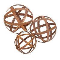 One of Australia's large range of Garden Sculptures. Shop online and we send Australia wide. Australian Rusted Sculptural Ball Set of 3 Garden Art
