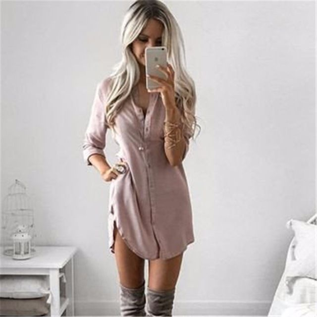 New Arrival 2016 Women Autumn Long Sleeve Casual Black Shirt Dress Fall Sexy Club Party Mini Dresses Plus Size