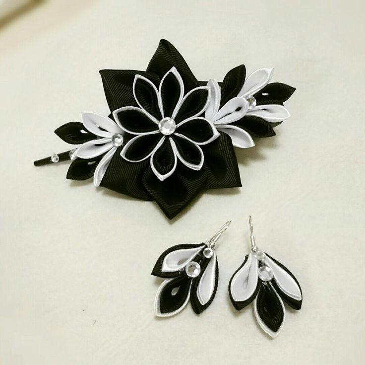 Fermacapelli kanzashi Black&White con orecchini abbinati
