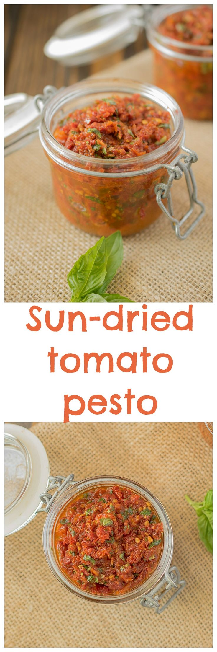 Sun-dried tomato pesto. A wonderfully diverse recipe component. Sun-dried tomato pesto is a great sauce that you can add to hot pasta or use as a dip and it's so easy to make because there's only 2 ingredients. Yes, just 2!