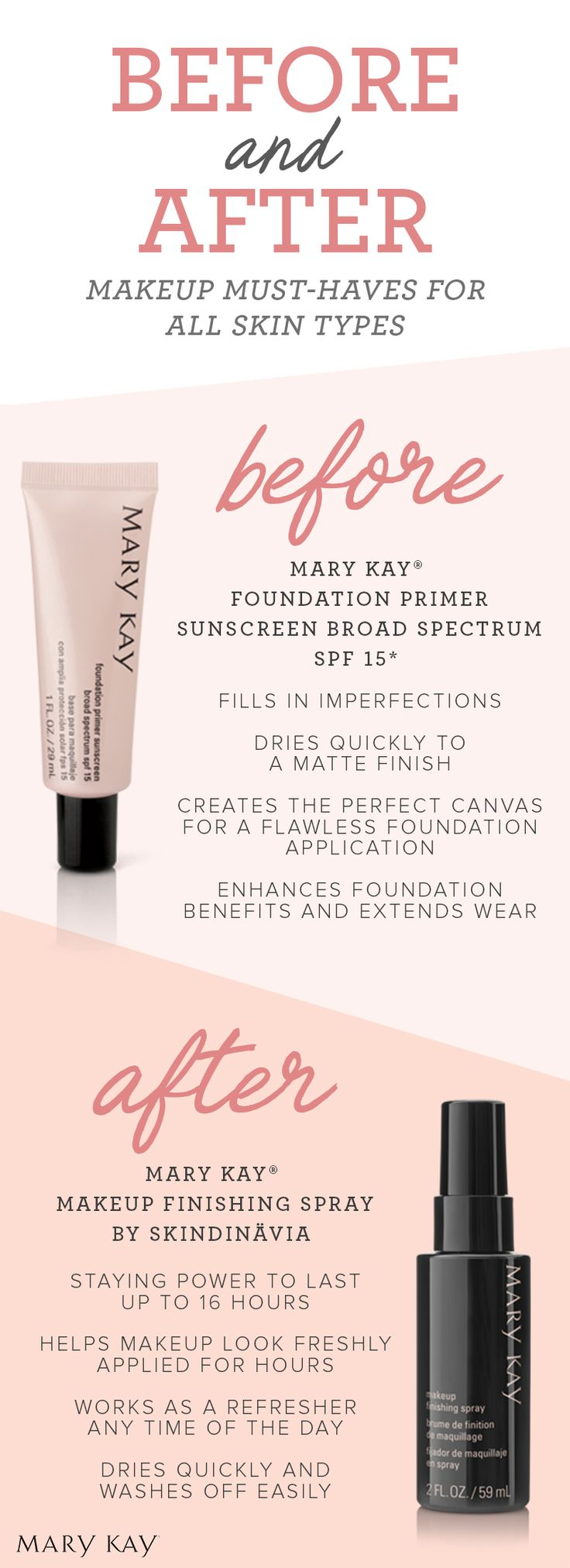 Ready, prep, set! Tip: Apply Mary Kay® Foundation Primer Sunscreen Broad Spectrum SPF 15* after your final skin care step to entire face and blend gently using your fingertips to create the perfect canvas for foundation application.