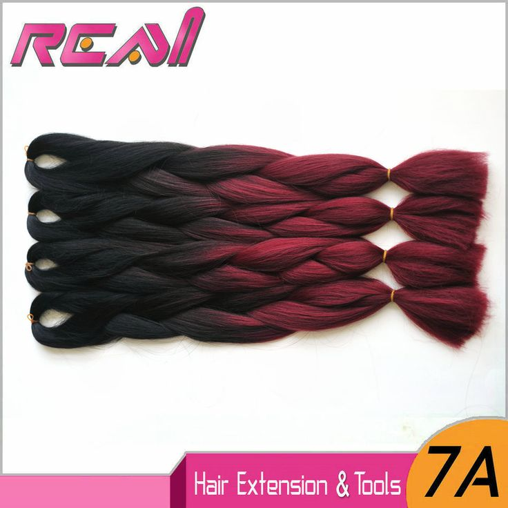 Expression Braiding Hair Expression Dark Red Ombre Synthetic Braiding Hair Box Braid Extensions Ombre Kanekalon Jumbo Braid Hair