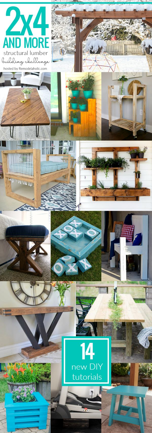 14 Amazing New 2x4 Project Tutorials! All of these projects are built using 2x4s and other budget-friendly structural lumber, and they are perfect for your home, yard, and garden.