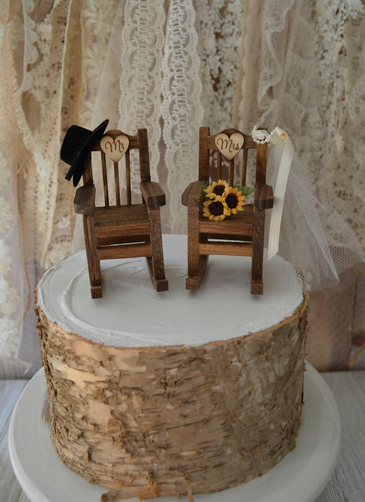 Rocking Chair Wedding Cake Topper Country Weddings Rustic Sunflowers Bride Groom Mr And Mrs Hat