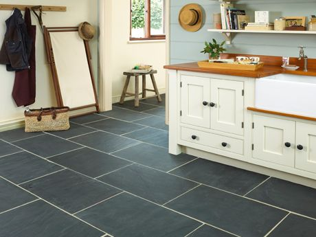 Black Slate Tile Floors, Marble Counter Tops And Marble/grey Herringbone  Tile Back Splash With Grey Or Black Grout.