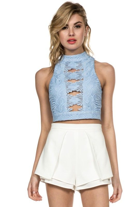 LUXXEL FEATHERED LACE CROP TOP