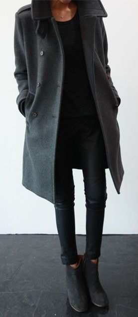 grey coat, black jeans