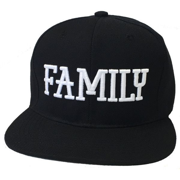 Flat Bill Snapback Cap Hat FAMILY Hip Hop Black ($16) ❤ liked on Polyvore featuring accessories, hats, flat bill hats, black snapback, black cap, flat bill caps and snap back caps