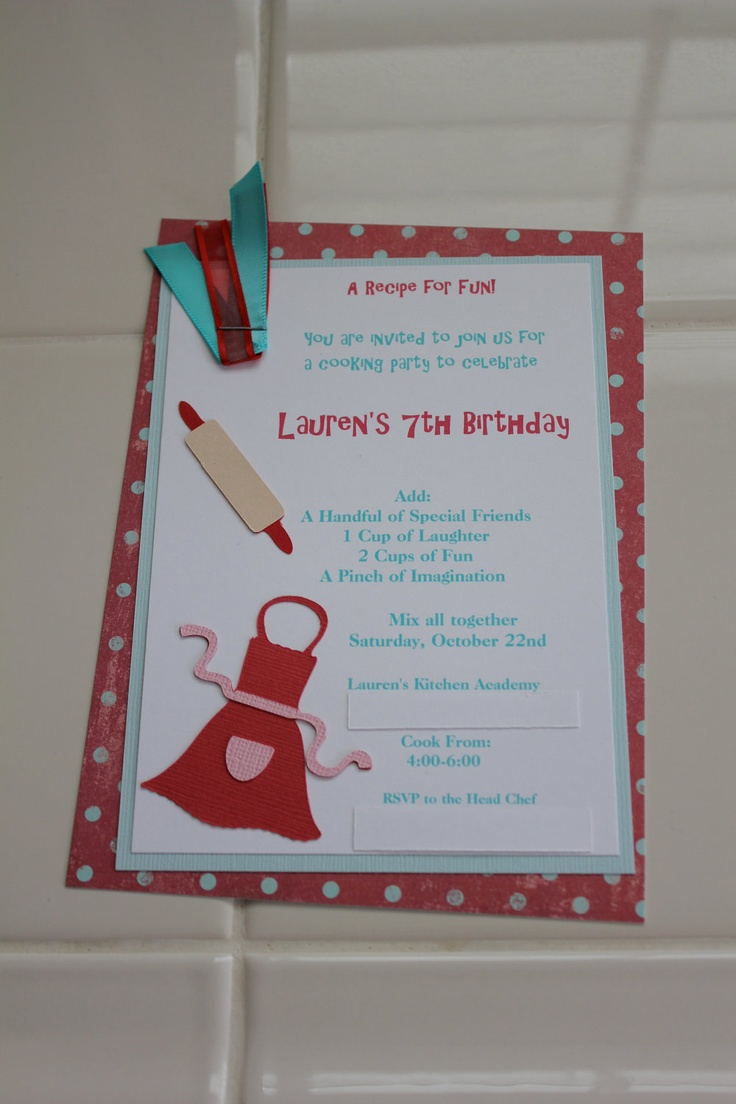 Cooking Party Invitation Birthdays Baking Birthday