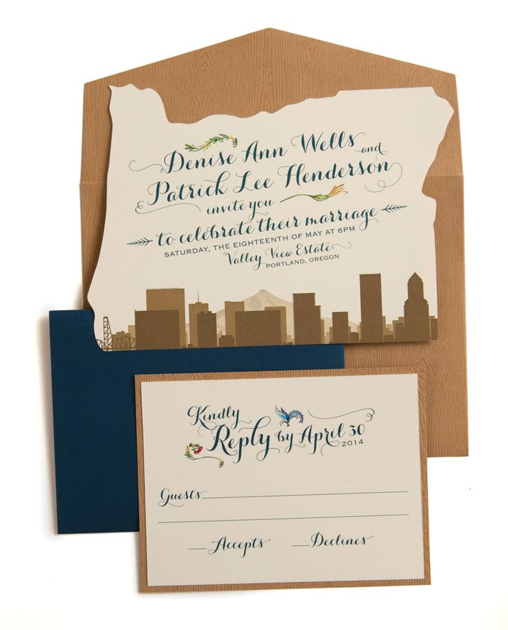 Oregon Simply Stated Wedding Invitations That Show Off Your State Pride