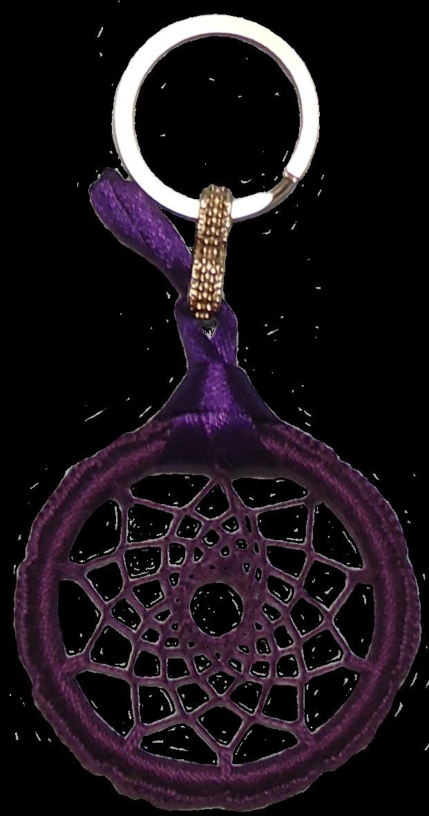 porta chaves dreamcatcer feito à mão em crochet. 6cm diâmetro