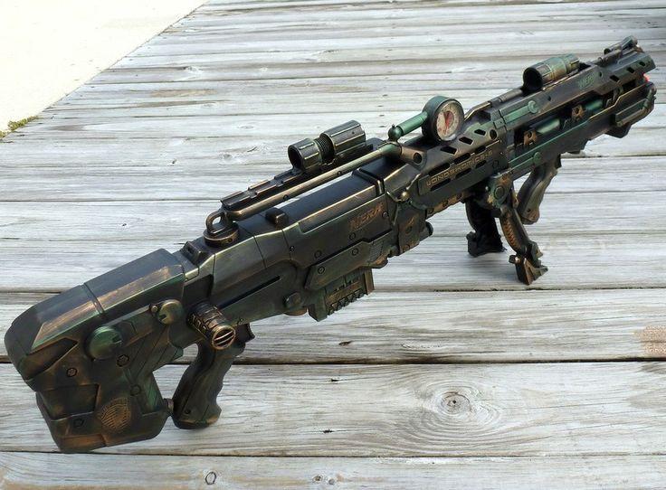 Steampunk Shot Gun Nerf Longshot CS 6 Zombie Halo Soft Darts Toy Rifle Fall Out | eBay