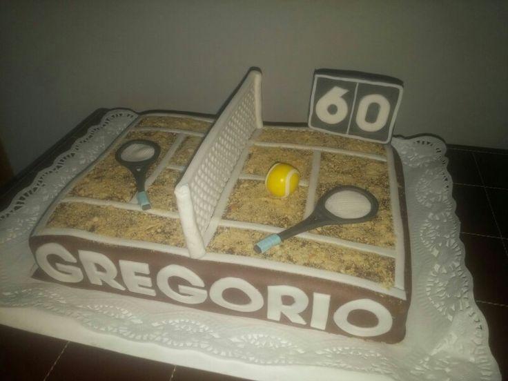 Tarta de una pista de tenis de tierra!! Feliz 60 cumpleaños!!