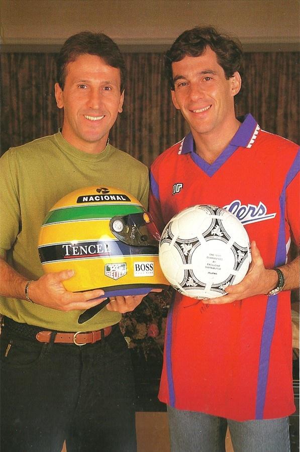 Zico and Ayrton Senna (Esportistas brasileiros famosos).