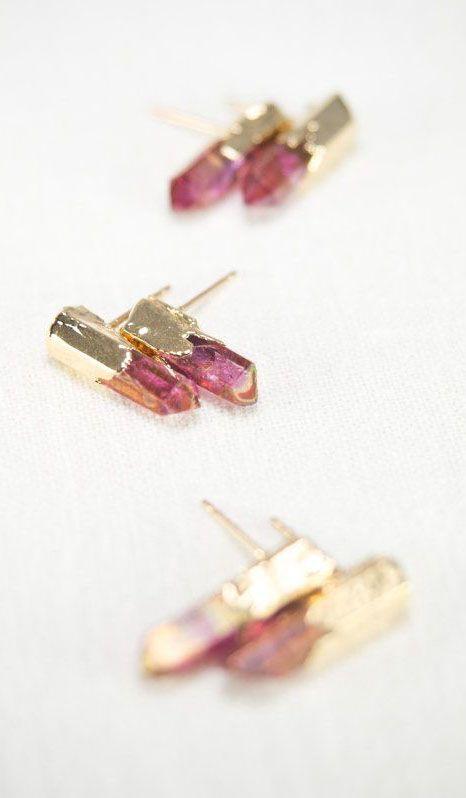 Keilani earrings pink quartz point stud earring by kealohajewelry