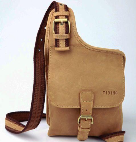 Vintage Men's Genuine Leather Shoulder Chest Sling Bags Backpack Messenger Bag | eBay
