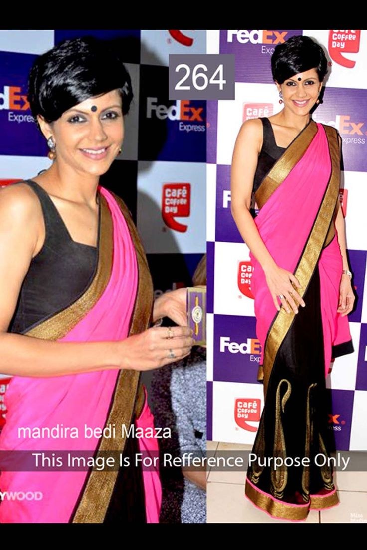Mandira Bedi Pink Georgette Latest Bollywood Saree