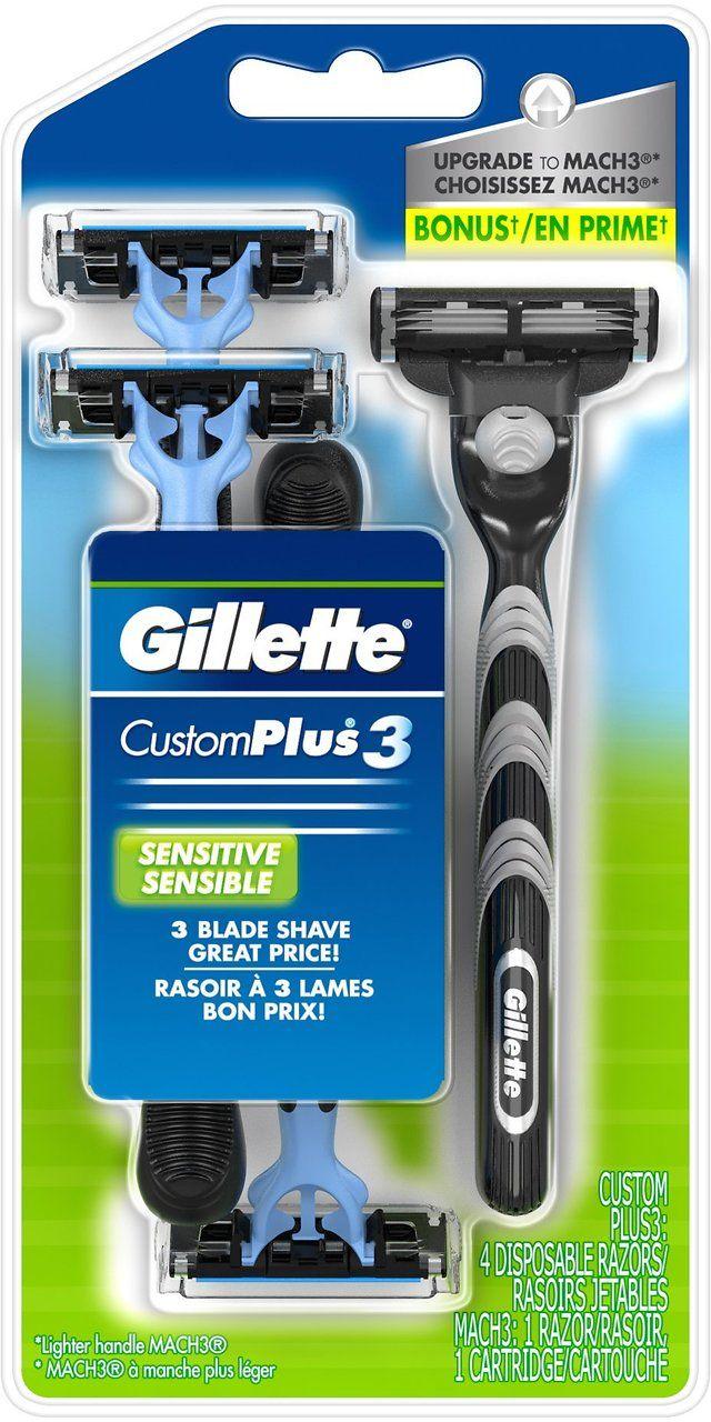 Gillette Customplus 3 Sensitive Men's Disposable Razors  Mach3 Razor Blade & Handle $2.69 (amazon.com)