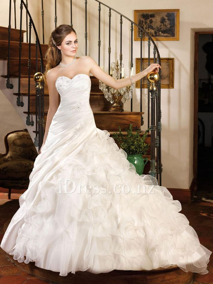 sweetheart strapless a-line asymmetrical ruffled skirt ball gown wedding dress from idress.co.nz