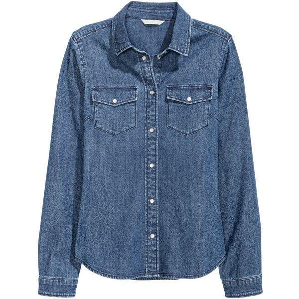 Figursyet denimskjorte 199.- found on Polyvore featuring tops, blouses, denim, shirts, denim shirts, h&m tops, fitted denim shirt, curved hem shirt and h&m shirts