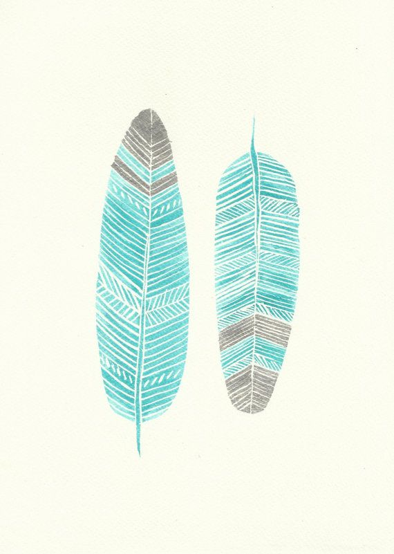 Aqua Mint Turquoise and Silver Boho Feather Watercolour Painting - Original Modern Art - Unique Home Decor