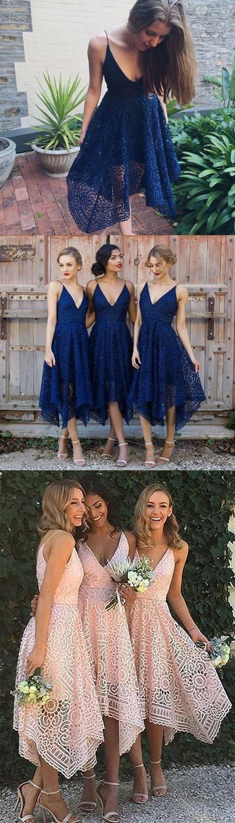 High Quality Lace V Neck Navy Blue Hi-Lo Straps Bridesmaid Dresses Prom Dress Party Gowns LD730 #bridesmaiddress #tealength #navybridesmaiddress #lace