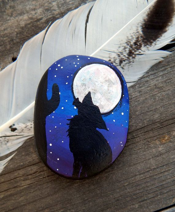 Howling Coyote Hand Painted Stones Full Moon Silhouette Rock Art Wolf Totem Animals Spirit Guide