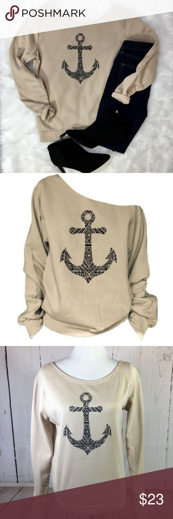 "NEW Nautical Anchor Slouchy Sweatshirt Large NEW Anchor Nautical Print Slouchy Sweatshirt Shirt Top Size Large Can be worn on or off the shoulders  Shown on a medium size mannequin  Approximate flat measurements:  Chest: 20"" Shoulders: 16"" Waist: 18"" Length from top of shoulder: 25"" Arm length: 24.5"" Tops Sweatshirts & Hoodies"