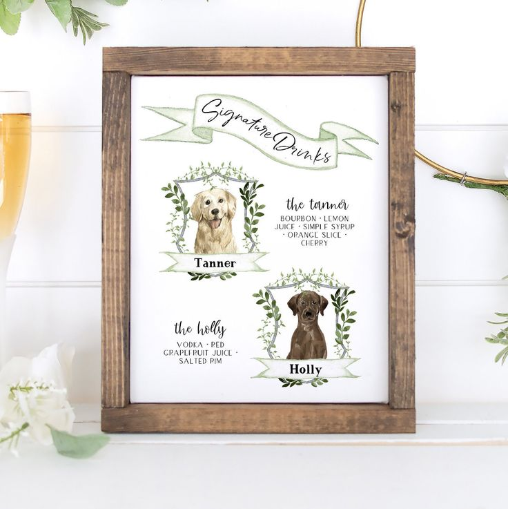 Design Your Own! 71 Dog Images Included, Dog Signature Drink Sign Template, His … – Wedding Signs by Magnolia Papers