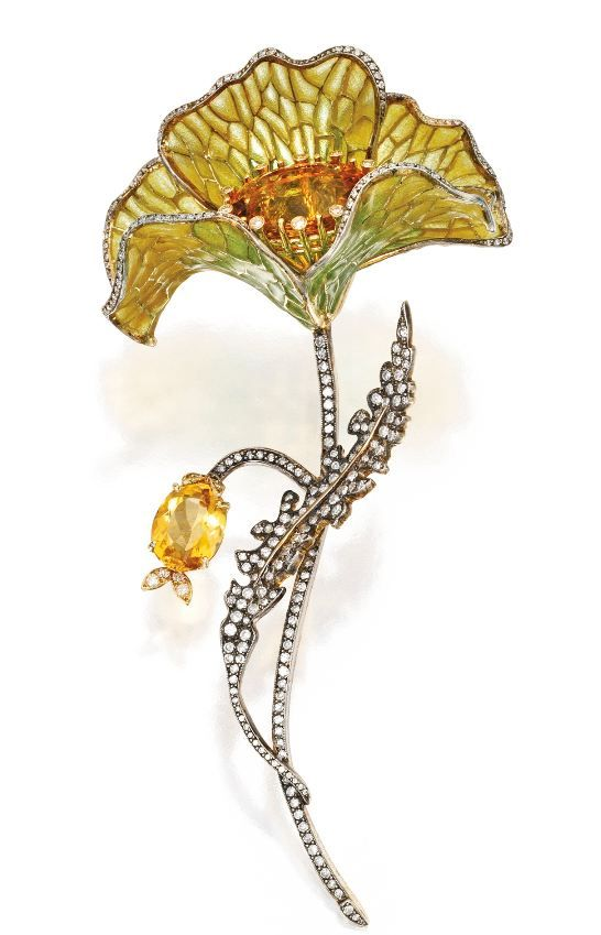 """Poppy"". The naturalistic flower centered by an oval-shaped citrine, framed within plique-a-jour enamel petals of yellow and green hue, the winding stem accented by an oval-shaped citrine, set throughout with numerous single-cut diamonds. (Sotheby's)"