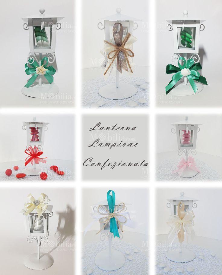 Lanterna Lampione Bomboniera di un meraviglioso colore Bianco in vetro e metallo intagliato, ideale per matrimoni e cerimonie. In promozione