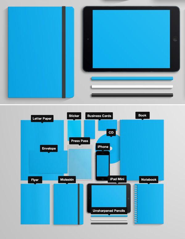 20 stationary branding mock up vol 1 20 Free Branding and Identity Mockup Templates