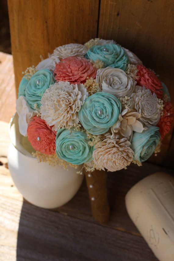 Coral and Mint Bouquet Sola Bouquet Wedding by RosyLilyFlorals