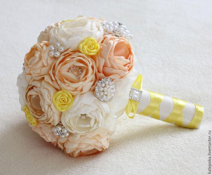 Купить Свадебный букет невесты, брошь-букет - лимонный, айвори, бежевый, букет невесты