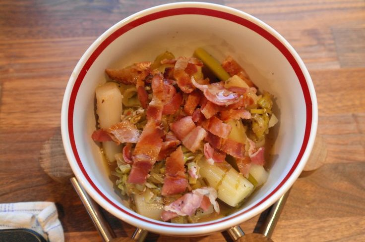 Langtidsstegte porrer med bacon
