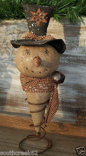 Primitive Grubby Christmas Snowman Doll Handstiched Spring Nodder
