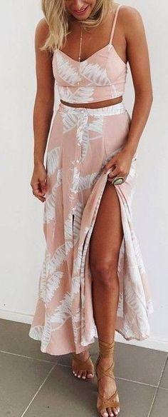 #Summer #Outfits / Crop Top - Pattern Print Slit Maxi Skirt
