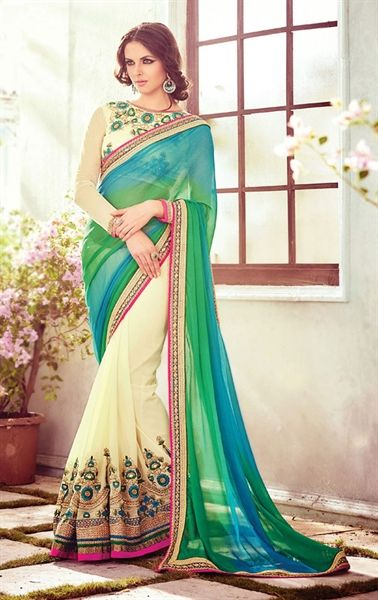 Mystical Cream and Cyan Blue Party Wear Saree