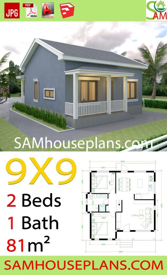 House Plans 9x9 With 2 Bedrooms Gable Roof Sam House Plans Denah Rumah Rumah Indah Denah Rumah Kecil
