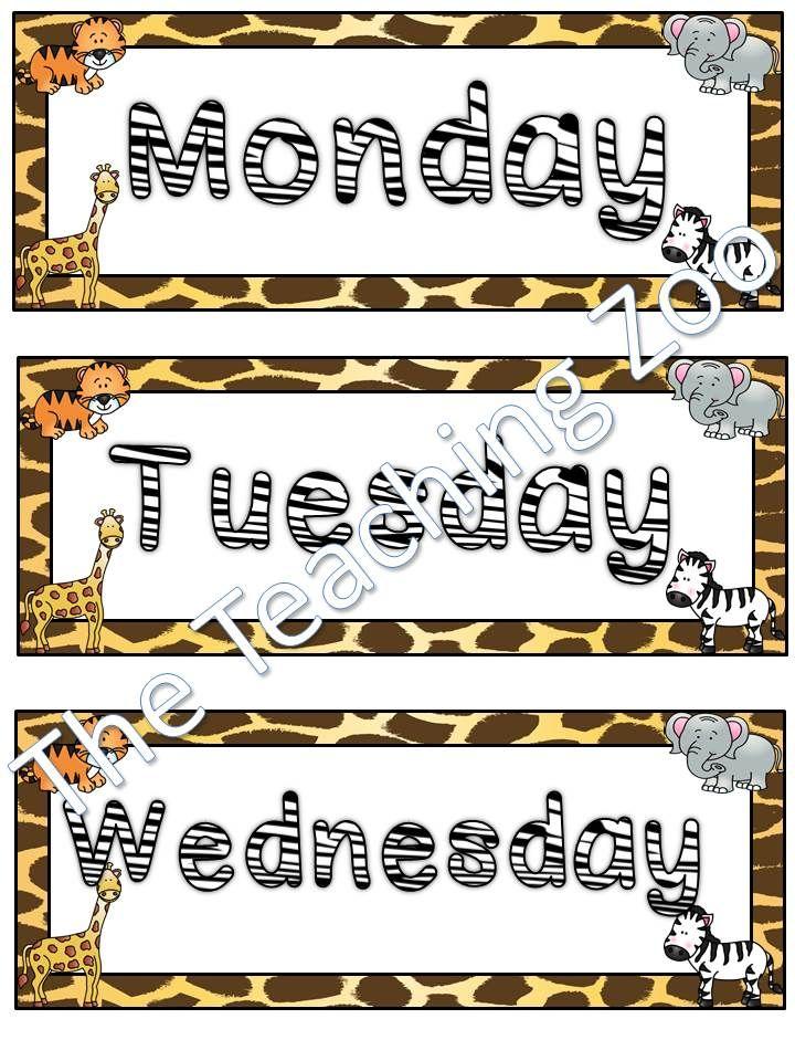 Zoo Weekly Calendar : Jungle safari zoo animals days of the week today