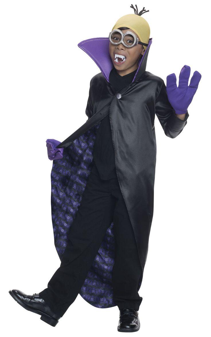 Minion Dracula. Halloweenin ja muiden kauhubileiden kunniaksi Minion-hahmo on pukeutunut draculan asuun. Hauska ja tyylikäs lasten naamiaisasu saa taatusti hymyn huulille niin kantajalleen kuin kaikille muillekin hänen ympärillään.