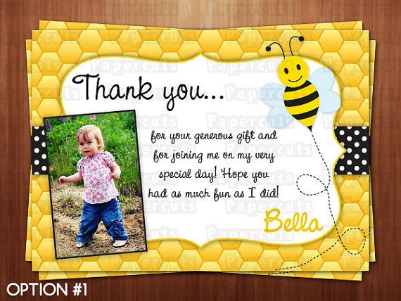 Busy Honey Bumble Bee Theme Thank You Card
