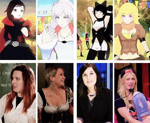 RWBY characters and their voice actresses. <3 Ruby Rose/Lindsay Jones, Weiss Schnee/Kara Eberle, Blake Belladonna/Arryn Zech, Yang Xiao Long/Barbara Dunkelman.