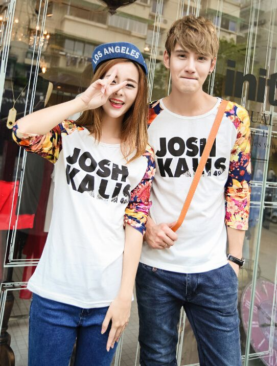 Cheap College White Long Sleeve Printed Floral Split Slim Wear Couple Shirts