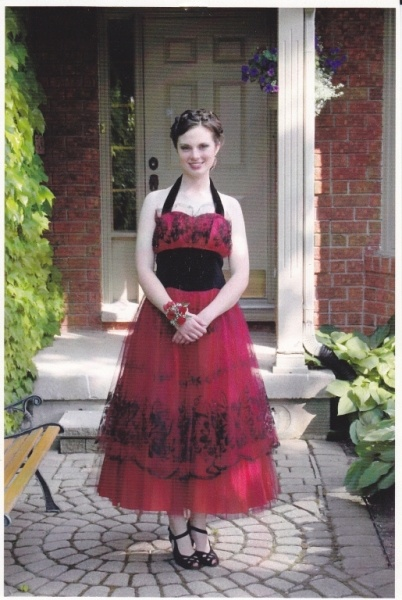 Katie in her wonderful black and red fifties dress.