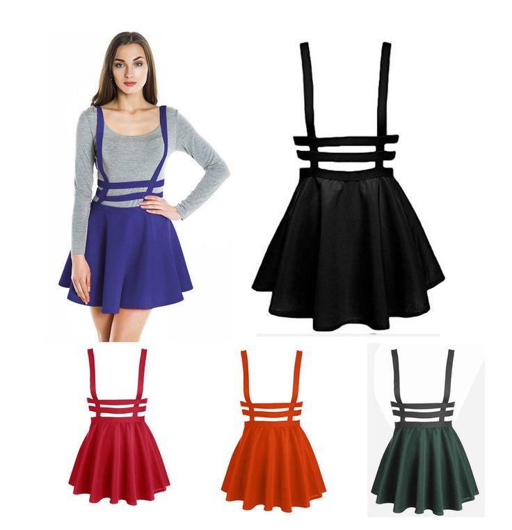 Japanese Sexy Kawaii Girls Falbala Skirt Lolita Lasbian High Waist Braces Dress   eBay