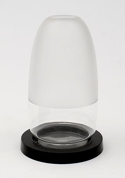 Botterweg Auctions Amsterdam > Half frosted clear glass vase Carola(middle size) on wide black glass stand, design A.D.Copier 1934, executed by Glasfabriek Leerdam / the Netherlands